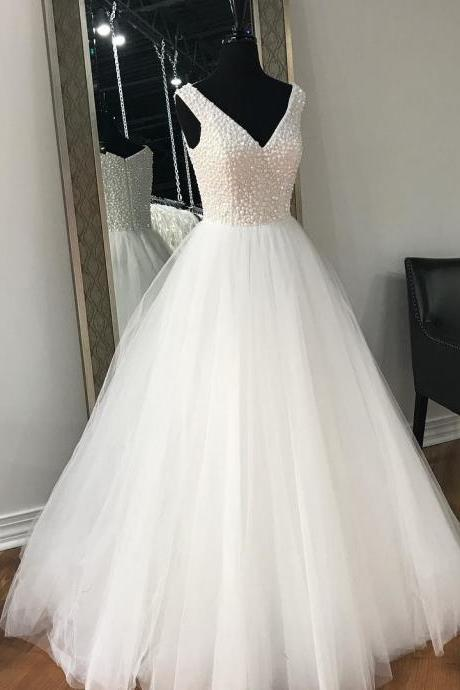 Sleeveless V-Neck Beaded A-line Floor-Length Wedding Dress