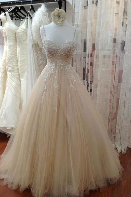 CHAMPAGNE SWEETHEART NECK TULLE LACE PROM DRESS, EVENING DRESS, FORMAL DRESS