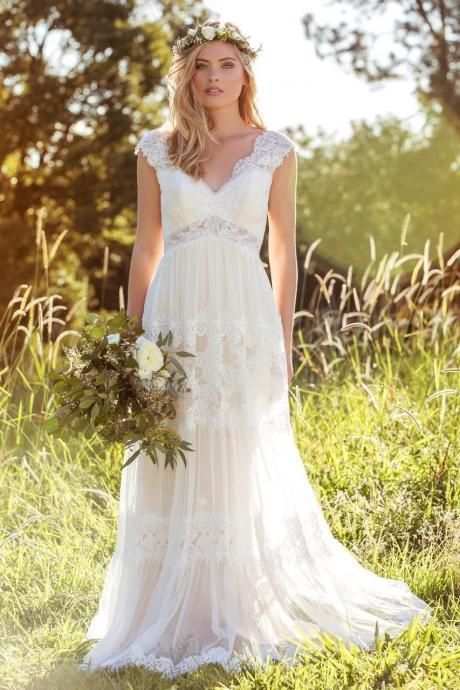 2018 Modest Lace Wedding Dresses Cap Sleeve Handmade Bridal Gowns Custom