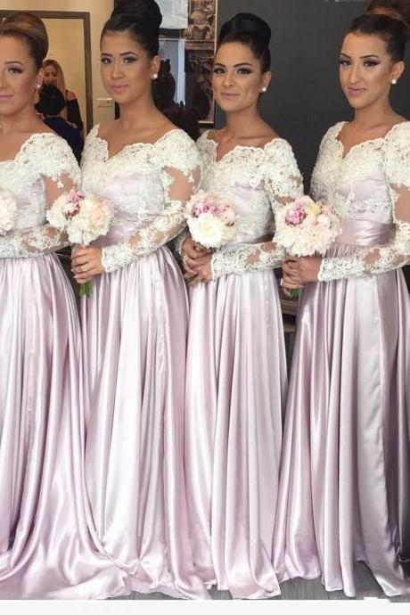2018 Light Pink Long Sleeves Lace Bodice Cheap Bridesmaid Dresses Sweetheart Appliques Long Elegant Arabic Maid of the Honor Dresses