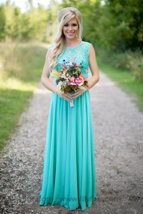 2018 Turquoise Bridesmaids Dresses Sheer Jewel Neck Lace Top Chiffon Long Country Bridesmaid Maid of Honor Wedding Guest Dresses