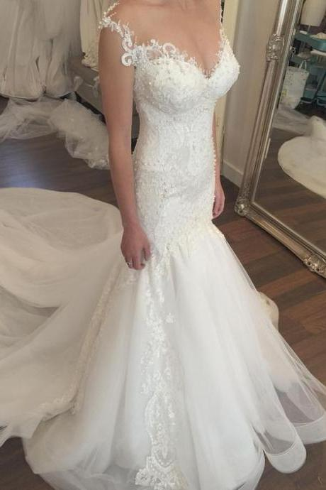 Wedding Dresses,Lace Mermaid Wedding Dresses,Bridal Dress,Wedding Dress,Sleeveless Wedding Dresses,Sweetheart Wedding Dresses,Long Wedding Dresses