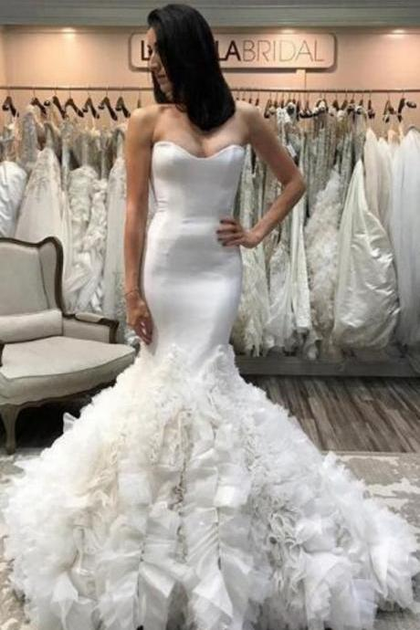 Mermaid Wedding Dress,Sweetheart Wedding Dresses,Ruffle Wedding Dress,Tulle Wedding Gown,Long Bridal Dress,White Wedding Gown