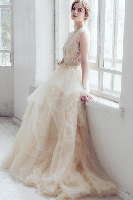 Charming Long Wedding Dress, Tulle Wedding Dress, Applique Wedding Dress, Sleeveless Bridal Dress, Charming Wedding Dress, Beading Wedding Dress