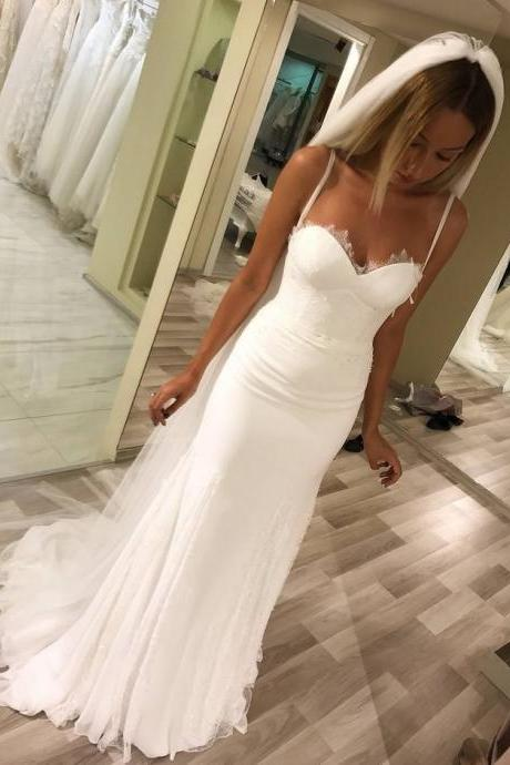 Wedding Dress,Wedding Dresses,Beach Wedding Dresses,Summer Wedding Dresses,Mermaid Wedding Dresses,Spaghetti Straps Wedding Dresses