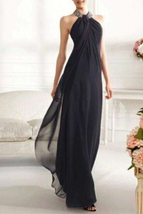 201 New Charming Sexy Evening Dress Halter Long Chiffon Evening Dress Floor Length Prom Dresses High Quality Party Dress
