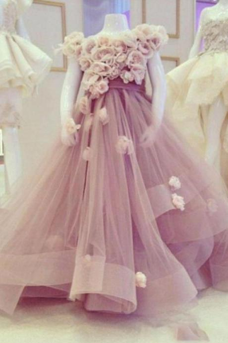 Flower Girl Dresses Purple Flower Girl Dresses, Handmade Flowers Flower Girl Dresses, Floor Length Flower Girl Dresses, Elegant Flower Girl Dresses, Cheap Flower Girl Dresses, Puffy Flower Girl Dress, Little Girl Prom Gowns, Pageant Little Girl Dresses