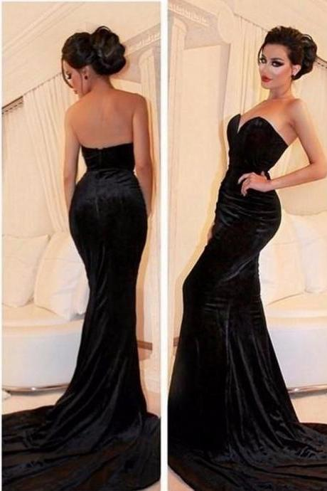 Long Velvet Evening Dress 2018,Prom Dresses,Evening Dress,Prom Dresses,2018 Elegant Stunning Sleeveless Sweetheart Black 2018 Evening Dress Mermaid