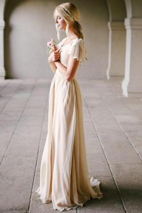 Scoop Neck Chiffon A-line Beach Wedding Dress with Short Sleeves