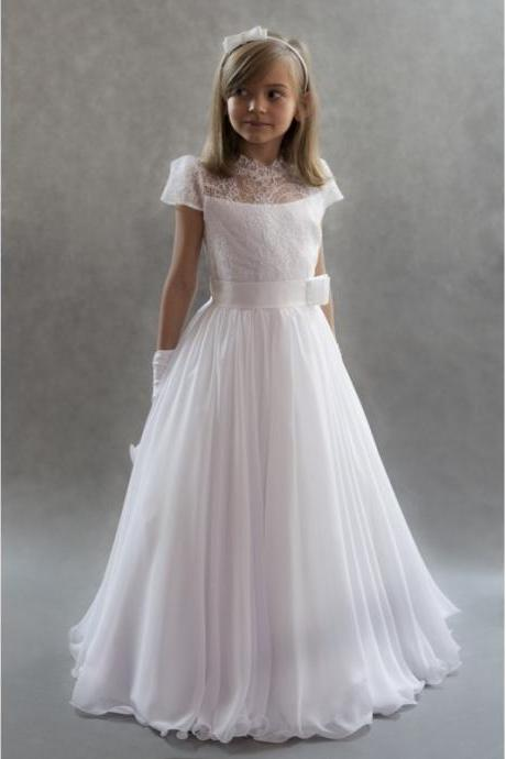 Flower Girl Dress girls Hot Selling Lace See Through Neck Weddings Floor Length Girls' Little Kids Gowns Pageant Dresses High Quality