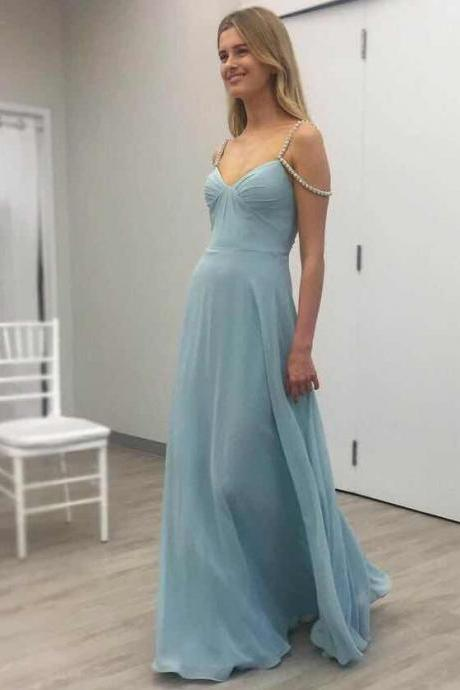 2018 New Arrival Chiffon Prom Dresses A-Line Sweetheart Sleeveless Backless Floor Length High Quality Evening Dresses Custom Made Party Dresses Beads Prom Dress
