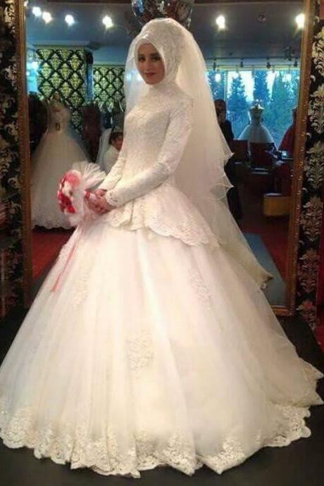 Louisvuigon Jacket Long Sleeve High Neck Muslim Ball Gown Wedding Dress With Appliques Lace Berta Bridal