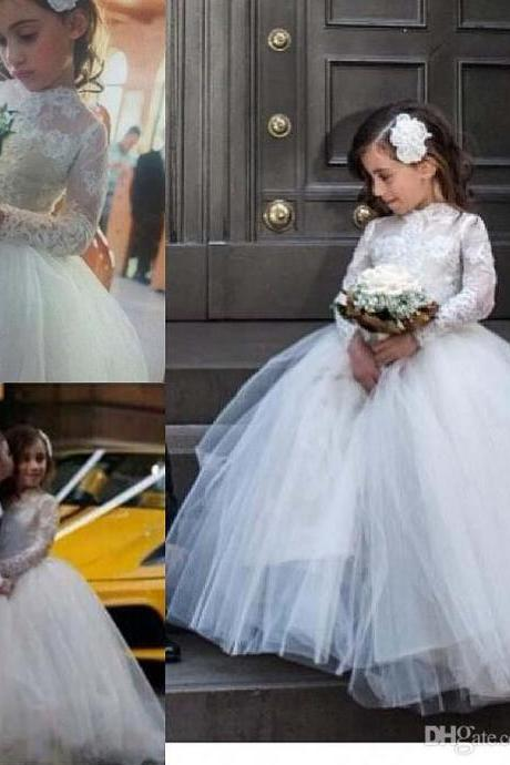 New lace communion dress Ball Gown Flower Girl Dresses Long Sleeve Children Dresses Custom-made flower girl dresses for weddings