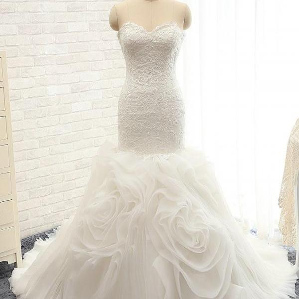 Mermaid Sweetheart Neckline Lace Wedding Dress,Floral Skirt Ivory Bridal Dress