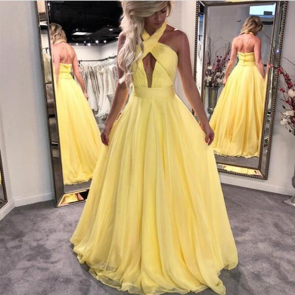 2018 Cheap High Quality halter prom dress,yellow prom dress,long prom dress,chiffon prom dress,open back prom dresses, Chiffon