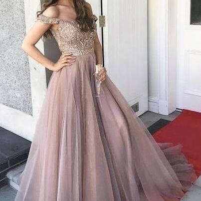 Luxurious Prom Dress,Beading Prom Dress,Off the Shoulder Prom Dress,Tulle Prom Dress,Long Prom Dresses with Rhinestone