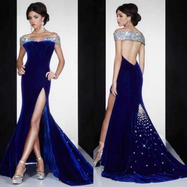2018 New Arrival Graceful Prom Dresses Mermaid Off the Shoulder Crystal Floor Length Velvet Fabric Evening Dresses High Slit Sexy Prom Dresses Backless Custom Made Formal Dresses High Quality Formal Dress